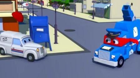 儿童汽车城超级卡车: 卡尔变身快递卡车帮助出故障的快递车派送包裹