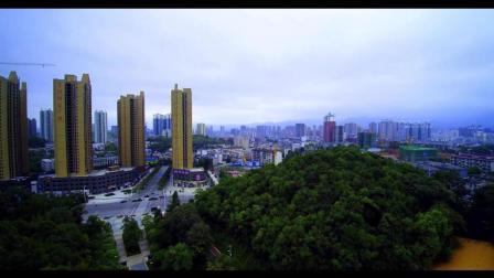 湖南怀化迎丰公园高空航拍中秋的美丽