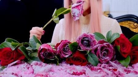 糖渍红玫瑰看起来很像冰冻玫瑰, 吃起来嘎嘣脆的咀嚼音超带劲