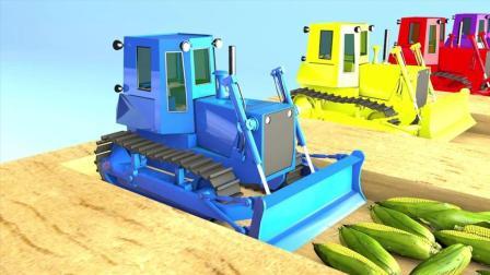 趣味益智动画片 各种拖拉机铲车收割蔬菜