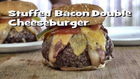 超级无敌培根芝士大汉堡, 肉是面包的三倍大, 看美国老爷爷BBQ