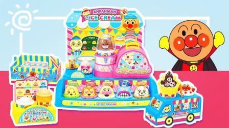 趣盒子玩具 第一季 面包超人超级冰淇淋店 外卖车和四种冰淇淋甜品日本食玩