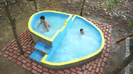 农村哥俩的户外游泳池完工了, 刷点漆做装饰, 看