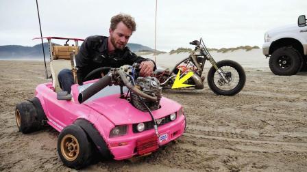 国外牛人改造玩具超跑, 加个摩托引擎时速110, 百