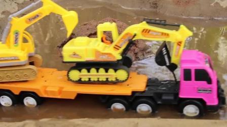 大卡车挖掘机来运送泥土