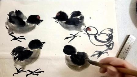 国画小鸡的基本画法-小石国画