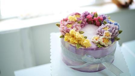 自然系裱花蛋糕组装过程
