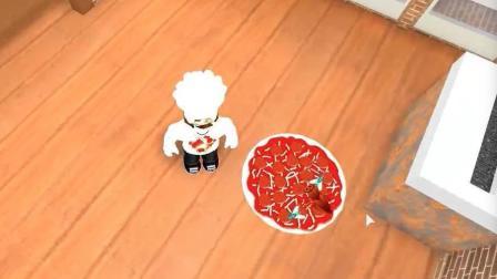 """【波波仔解说】roblox虚拟世界""""披萨店的工作"""": 今天波波仔请大家吃""""蟑螂披萨""""!"""