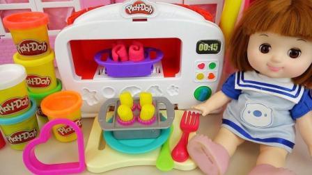 婴儿娃娃玩烤箱做小饼玩具和厨房烹饪游戏, 楚楚亲子游戏