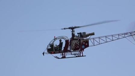 巨型SA315B涡喷模型直升机飞行表演