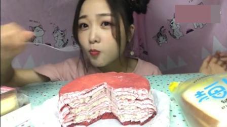美食吃播  冰淇淋千层蛋糕和半熟芝士紫米面包, 美女太可爱了!