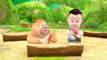 熊熊乐园: 熊二和光头强的苹果长出了小树苗