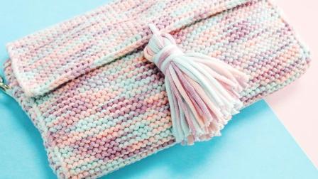 毛儿手作灌心棉斜挎包手工棒针编织单肩包背包DIY毛线材料包毛线的编织过程