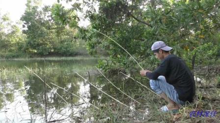 水库野钓、小伙有点贪、钓鱼用七条竿