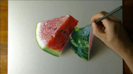 牛人用5个小时画出3D西瓜! 我准备拿起来吃, 你告