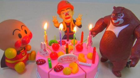 光头强的生日蛋糕 熊大面包超人做客