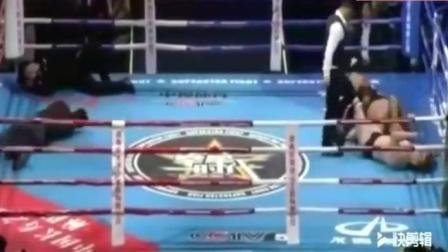 日本拳手砸场子擂台挑衅中国裁判, 被中国裁判1秒KO, 太丢人了!