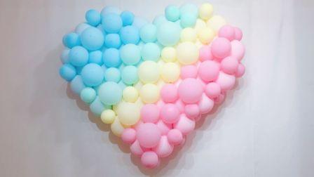 丘丘高端气球派对培训教程之 新款马卡龙色不规则爱心造型
