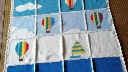 【金贝贝手工坊232辑】M147热气球竞赛毯(一)毛线钩针编织儿童毯子视频教程编织实例