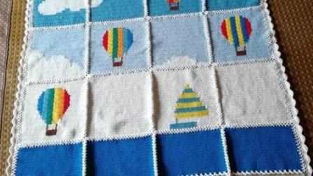 【金贝贝手工坊233辑】M147热气球竞赛毯(二)毛线钩针编织儿童毯子视频教程编织款式大全