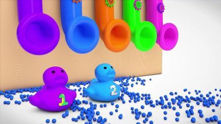 彩色管道喷出彩色小球变成小鸭子