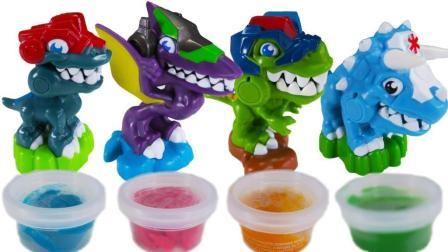 恐龙救援队彩泥DIY喂食玩具 给小恐龙做美食 拆棒棒糖巧克力零食!