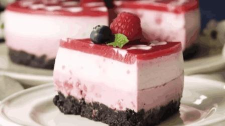 树莓奶酪蛋糕, 不用烤箱不打蛋, 不加面粉不加油, 省事又好吃