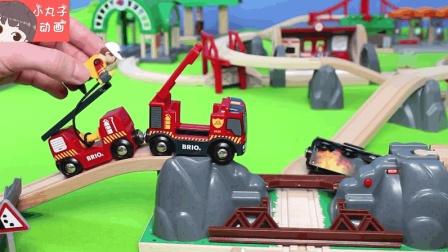 汽车冒火托马斯消防车出动救援 直升机轮船警车玩具应有尽有