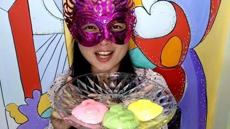 美食吃货: 面罩小姐姐吃彩色蝴蝶结布丁 非常美丽又美味