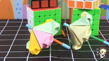 亲子手工折纸大全 第一季 折七彩小花伞