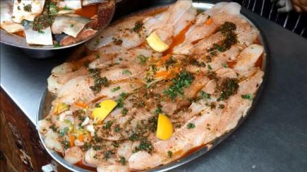 史诗烤鲑鱼, 金枪鱼, 虾和剑鱼-大米和沙拉-伦敦街头食物