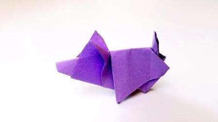 折纸王子折纸站立小猪, 儿童手工, 动手动脑简单易学