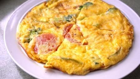 鸡蛋披萨自己在家做, 不需要烤箱, 不用揉面, 比买的还好吃