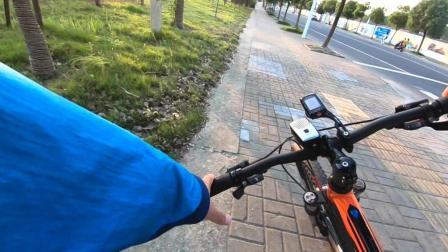 骑车遛狗延时摄影