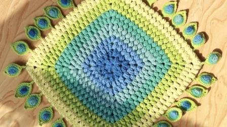 孔雀羽方形坐垫毛线钩针编织居家垫子视频教程