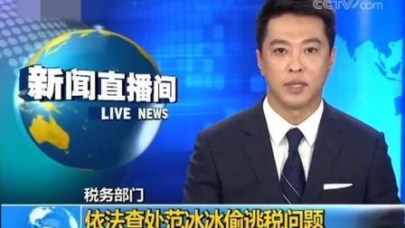 CCTV13报道范冰冰偷税漏税 税务部门依法查处范冰冰偷逃税问题
