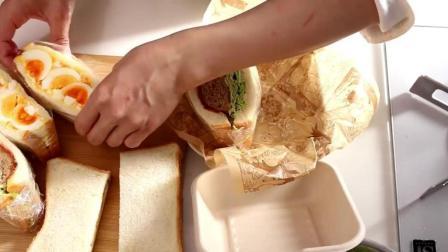 肉排与鸡蛋土豆沙拉三明治便当