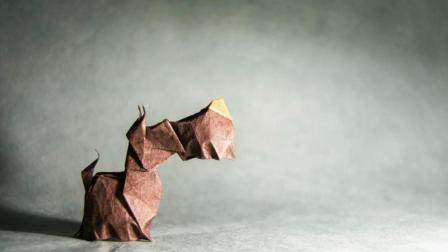 动物折纸, 立体苏格兰狗的折纸方法, 是不是很有创意!