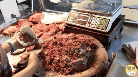 实拍西安网红肉夹馍, 10元一个顾客早6点排队! 一大堆牛肉真馋人