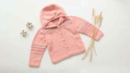 毛儿手作-提花开衫连帽衣宝宝上衣棒针视频毛线编织教学视频