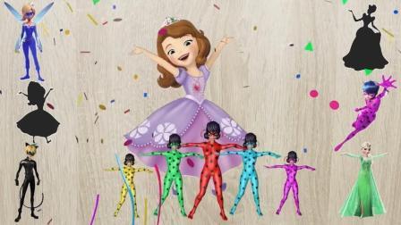益智早教动画: 索菲娅冰雪公主插槽拼图卡通人物学颜色