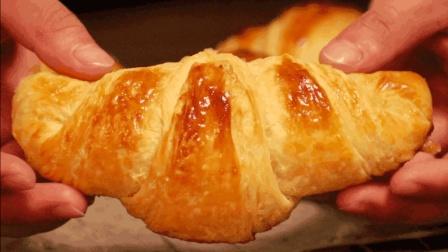 可颂(羊角)面包的做法, 全手工操作, 表皮酥脆, 内里蜂窝组织丰富
