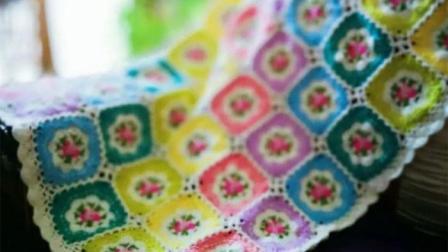 【金贝贝手工坊238辑】M146复古小碎花蔷薇毯(上)毛线钩针编织花朵空调毯子宝宝盖毯编织花样大全图