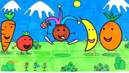 各种水果蔬菜香蕉橙子胡萝卜卡通简笔画
