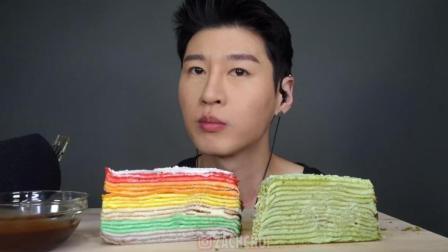 ASMR: 小哥吃彩虹蛋糕和绿茶蛋糕, 发出咀嚼声, 吃的真馋人