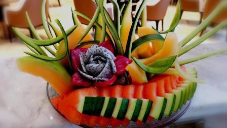 花式水果拼盘教学, 3种水果教你切出300的样子!