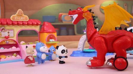 宝宝巴士玩具 130 喷火龙吃冰淇淋蛋糕