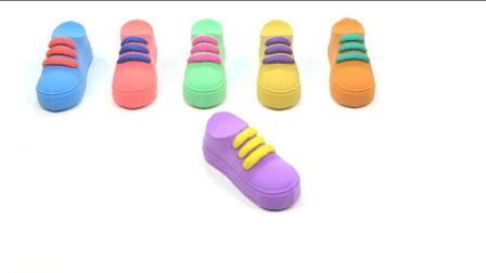 儿童彩虹运动鞋手工diy玩具 彩泥制作可以系鞋带的鞋子学颜色