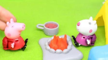 佩奇的摩天轮玩具拼装 粉红色小猪和苏西野外篝火煮咖啡美味无敌