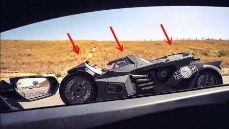老外开兰博基尼路遇蝙蝠侠战车, 怎么都超不过, 直到遇见了警车!